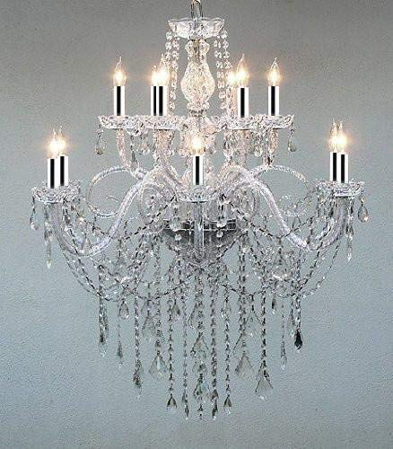 "Authentic All Crystal Chandelier W/Chrome Sleeves H38"" X W32"" - GO-B43/A46-3/385/6+6"