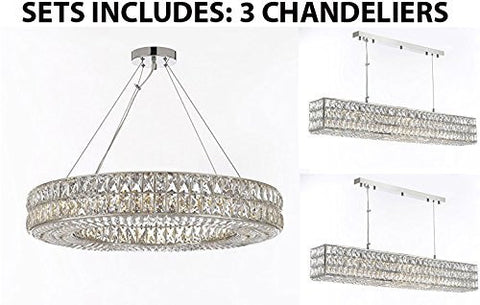 "Set Of 3-1 Crystal Spiridon Ring Chandeliers Modern/Lighting Pendant 32"" Wide And 2 Crystal Spiridon Linear Chandeliers Modern/Lighting Pendant 48.5"" Wide - Good For Dining Room Foyer Entryway - 1 Ea Gb104-3063/12 + 2 Ea Gb104-3063/10"