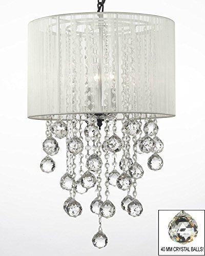 "Crystal Chandelier W/ Large White Shade & Crystal Balls H24"" W15"" - G7-B6//White/3/604/3"
