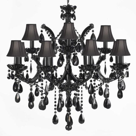Jet Black Chandelier Crystal Lighting Chandeliers With Black Shades - A83-Blackshades/Black/21532/12+1