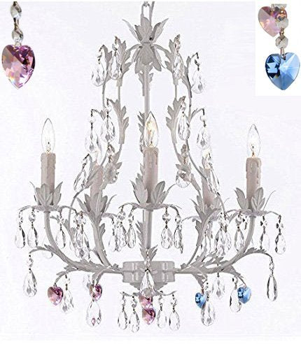 White Wrought Iron Floral Chandelier Lighting Chandeliers W/ Blue And Pink Hearts - J10-B85/B21/White/26016/5