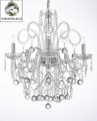 All Crystal Chandelier W/ 40Mm Crystal Balls & Crystal Icicles - G46-B29/3/385/5
