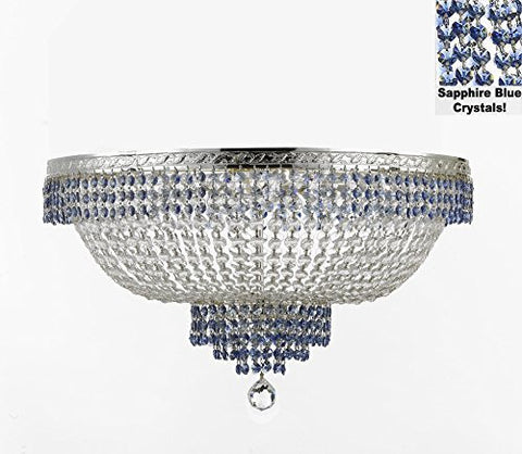 "Flush French Empire Crystal Chandelier Lighting Trimmed With Sapphire Blue Crystal Good For Dining Room Foyer Entryway Family Room And More H18"" X W24"" - F93-B83/Cs/Flush/870/9"