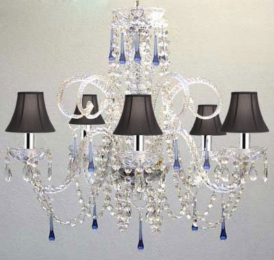Blue Crystal Chandelier Chandeliers Lighting with Black Shades w/Chrome Sleeves! - A46-B43/SC/BLACKSHADE/387/5BLUE