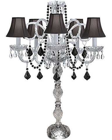 Set Of 10 Wedding Candelabras Candelabra Centerpiece Centerpieces W/Black Shade And Black Crystal - Great For Special Events - Set Of 10 - G46-Sc/B2/545/5/Blackshade-Set Of 10