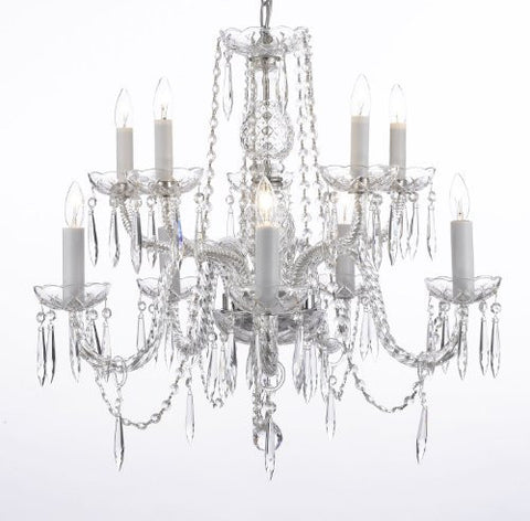 "Crystal Icicle Waterfall Chandelier Lighting Dining Room Chandeliers H25"" X W24"" 10 Lights - G46-B10/1122/5+5"