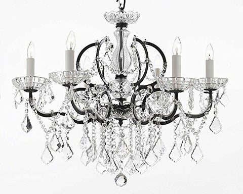 "Swarovski Crystal Trimmed Chandelier 19Th C. Rococo Iron & Crystal Chandelier Lighting H 25"" X W 26"" - A83-994/6Sw"