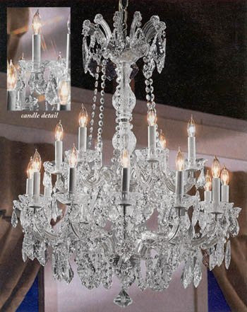 "Maria Theresa Crystal Chandelier W/ Swarovski Crystal Chandeliers Lighting 30""X28"" - A83-Silver/152/18Sw"