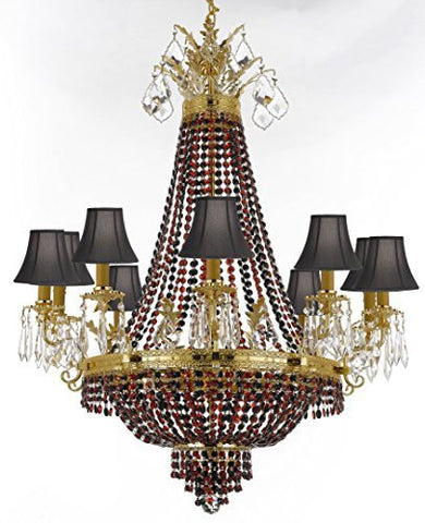 "French Empire Crystal Chandelier Chandeliers H32"" W25"" - Dressed With Jet Black & Ruby Red Crystals & Black Shades Perfect For Dining Room / Entryway / Foyer / Living Room - F93-B81/B80/Blackshade/1280/8+4"