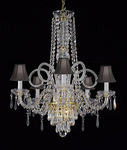 "New Crystal Chandelier Murano Venetian Style Chandeliers Lighting 24""X28"" With Black Shades - Cjd-G46-Blackshades/Gold/20048/5"