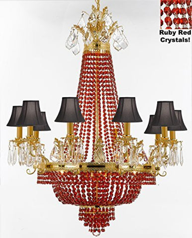 "French Empire Crystal Chandelier Chandeliers H32"" W25"" - Dressed With Ruby Red Crystals And Black Shades Perfect For Dining Room / Entryway / Foyer / Living Room - F93-B81/Blackshade/1280/8+4"
