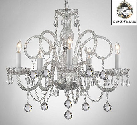 Swarovski Crystal Trimmed Chandelier! All Crystal Chandelier With Crystal Balls! - A46-B6/385/5 Sw