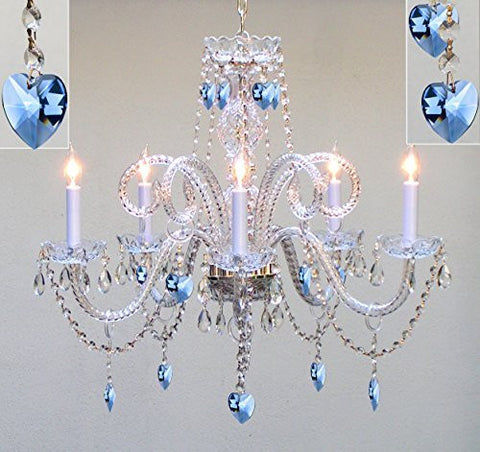 "Authentic All Crystal Chandelier Chandeliers Lighting With Sapphire Blue Crystal Hearts Perfect For Living Room Dining Room Kitchen Kid'S Bedroom H25"" W24"" - A46-B85/387/5"