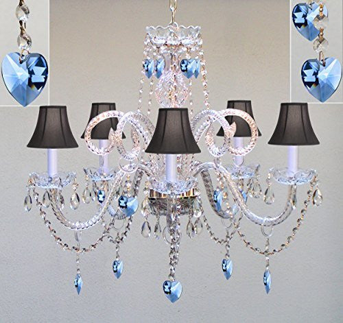 "Authentic All Crystal Chandelier Chandeliers Lighting With Sapphire Blue Crystal Hearts And Black Shades! Perfect For Living Room, Dining Room, Kitchen, Kid'S Bedroom! H25"" W24"" - A46-B85/Blackshades/387/5"