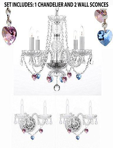 3Pc Lighting Set - Crystal Chandelier And 2 Wall Sconces With Sapphire Blue & Pink Crystal Hearts Perfect For Living Room Dining Room Kitchen Kid'S Bedroom - 1Ea-B85/B21/275/4 + 2Ea-B85/B21/2/386