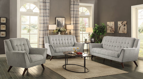 Set of 3 - Natalia Upholstered Sofa + Loveseat + Chair Dove Grey - D300-10094