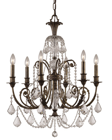 6 Light English Bronze Crystal Chandelier Draped In Clear Hand Cut Crystal - C193-5116-EB-CL-MWP
