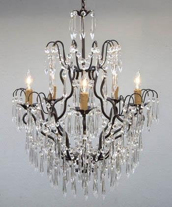 "New Wrought Iron & Crystal Chandelier H27"" X W21"" - Go-J10-U/26034/5"