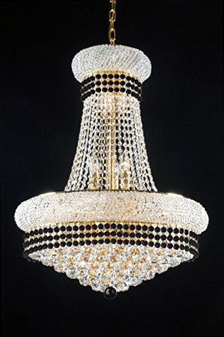 "French Empire Crystal Chandelier Chandeliers Lighting Trimmed With Jet Black Crystal Good For Dining Room Foyer Entryway Family Room And More H32"" X W24"" - A93-B79/542/15"