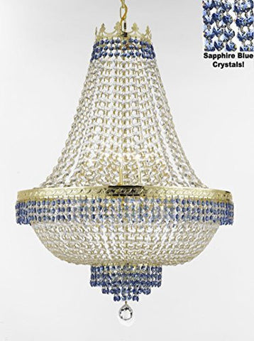 "French Empire Crystal Chandelier Chandeliers Lighting Trimmed With Sapphire Blue Crystal Good For Dining Room Foyer Entryway Family Room And More H36"" W30"" - F93-B83/Cg/870/14"