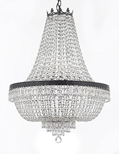 "French Empire Crystal Chandelier Chandeliers Lighting H36"" X W30"" With Dark Antique Finish! Good for Dining Room, Foyer, Entryway, Family Room and More! - F93-CB/870/14"