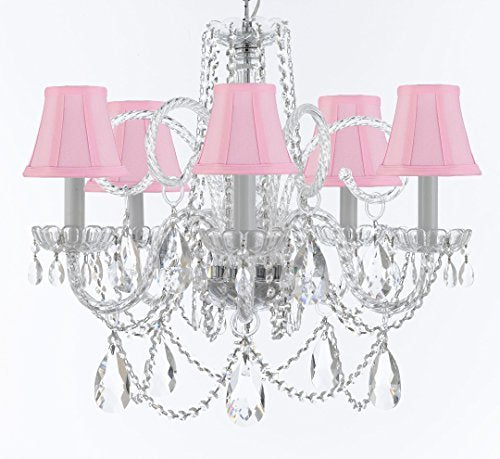 "Murano Venetian Style Chandelier Crystal Lights Fixture Pendant Ceiling Lamp for Dining Room, Bedroom, Entryway , Living Room with Large, Luxe, Diamond Cut Crystals! H25"" X W24"" w/ Pink Shades - A46-CS/PINKSHADES/B93/B89/385/5DC"