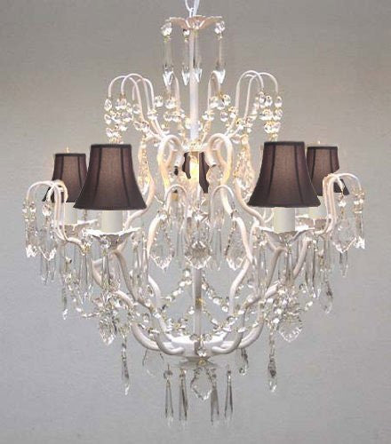 "New Wrought Iron & Crystal Chandelier With Black Shades H27"" X W21"" - J10-Blackshades/White/26025/5"