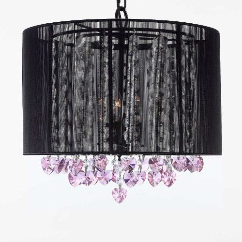 "Crystal Chandelier With Large Black Shade And Pink Crystal Hearts H15"" X W15"" - Perfect For Kids' And Girls Bedrooms - G7-B23/Black/Sm/604/3"