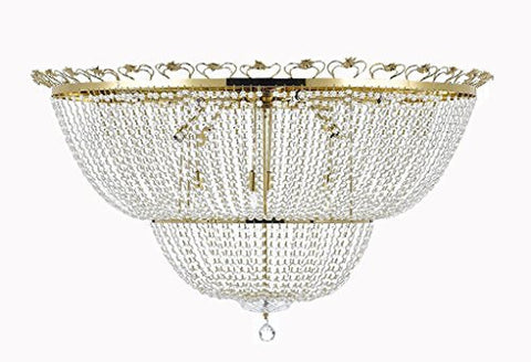 "Flush French Empire Crystal Chandelier Chandeliers Perfect For An Entryway Or Foyer H 27"" W 44"" - A93-Cg/Flush/452/24"