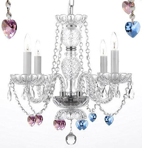 "AUTHENTIC ALL CRYSTAL CHANDELIER CHANDELIERS LIGHTING WITH SAPPHIRE BLUE AND PINK CRYSTAL HEARTS! PERFECT FOR LIVING ROOM, DINING ROOM, KITCHEN, KID'S BEDROOM! H17"" W17"" - G46-B85/B21/275/4"
