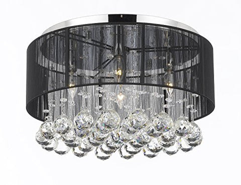 Flushmount 4-Light Chrome And Black Shade Empress Crystal (Tm) Chandelier Lighting - G7-Black/2130/4
