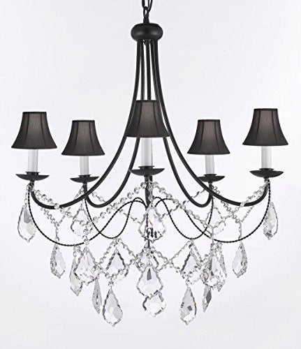 "Empress Crystal (Tm) Wrought Iron Chandelier Lighting H.22.5"" X W.26"" With Shades - J10-Sc/Blackshades/B12/26031/5"