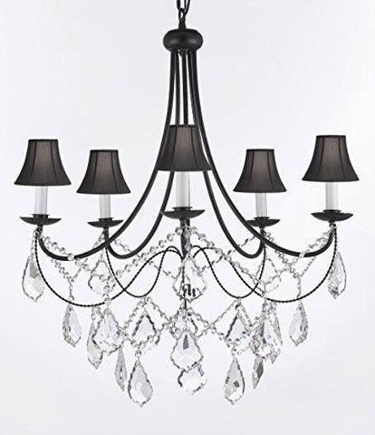 "Empress Crystal (Tm) Wrought Iron Chandelier Lighting H.22.5"" X W.26"" With Shades Swag Plug In-Chandelier W/ 14' Feet Of Hanging Chain And Wire - J10-B16/Sc/Blackshades/B12/26031/5"