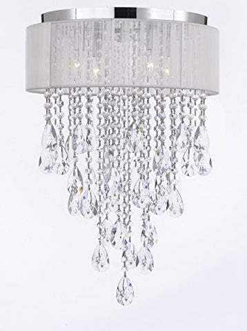 Flushmount 4-Light Chrome And White Shade Empress Crystal (Tm) Chandelier Lighting - G7-B9/B12/2130/4