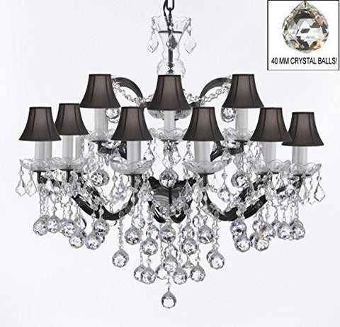 "Nineteenth C. Rococo Iron & Empress Crystal(Tm) Chandelier Lighting With Black Shades H 28"" X W 30"" - G83-Blackshades/B6/995/18"