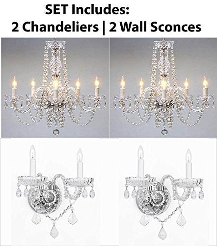 Four Piece Lighting Set - New Swarovski Crystal Trimmed Authentic All Crystal Murano Venetian Style Crystal 2 Chandeliers And 2 Wall Sconces - 2Ea 384/5Sw + 2Ea 2/386Sw