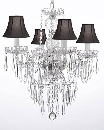 "New Authentic All Crystal Chandelier Lighting W/ Crystal Icicles And - With Shades H22"" X W17"" - G46-Blackshades/B27/3/275/4"