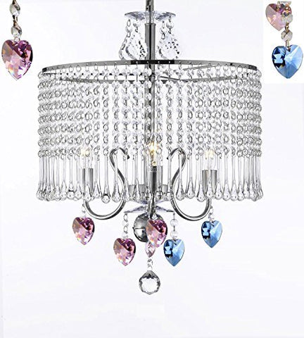"Contemporary 3-Light Crystal Chandelier Chandeliers Lighting With Crystal Shade And Blue And Pink Crystal Hearts W 16"" X H 21"" - J10-B85/B21/26071/3"