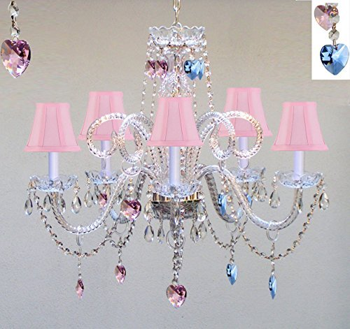 "Chandelier Lighting W/ Crystal Pink Shades & Blue And Pink Hearts H25"" X W24"" - Perfect For Kid'S And Girls Bedroom - Go-A46-Pinkshades/B85/B21/387/5"