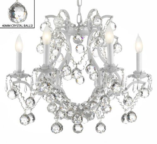 "White Wrought Iron Crystal Chandelier Lighting H 19"" W 20"" Dressed With Feng Shui 40Mm Crystal Balls - A83-B6/White/3530/6"