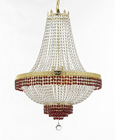 "French Empire Crystal Chandelier Chandeliers Lighting Trimmed With Ruby Red Crystal Good For Dining Room Foyer Entryway Family Room And More H36"" W30"" - F93-B75/Cg/870/14"