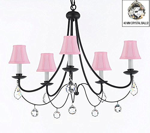 "Empress Crystal (Tm) Wrought Iron Chandelier Lighting H.22.5"" X W.26"" With Pink Shades And Crystal Balls - J10-Sc/Pinkshades/B7/B6/26031/5"