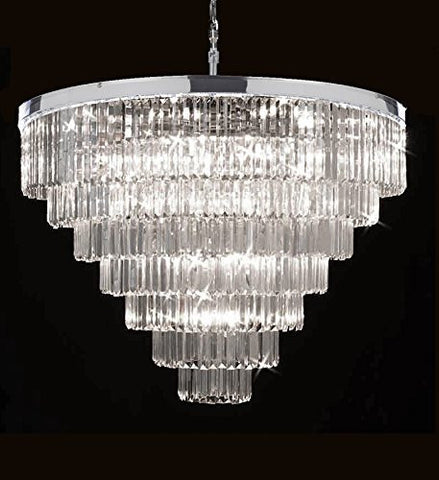 "Retro Palladium Crystal Glass Fringe 7 Tier Chandelier Chrome Finish H.35.5"" X W.43.5"" - G7-2164/33"