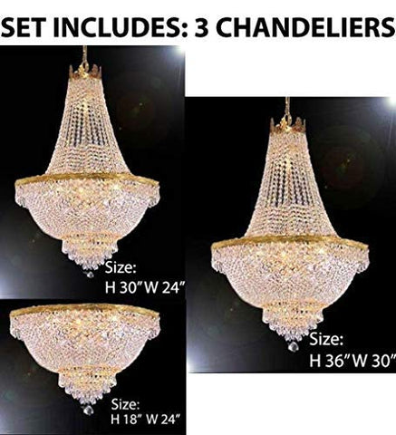 Set of 3-1 French Empire Crystal Chandelier Lighting H36 X W30 & 1 French Empire Crystal Chandelier Lighting H30 X W24 and French Empire Crystal Semi Flush Chandelier Chandeliers Lighting H18 X W24 - 1EA 870/14 + 1EA 870/9 + 1EA FLUSH/870/9