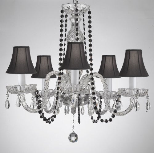 Crystal Chandelier Lighting With Black Color Crystal And Shades - A46-Blackb1/Blackshades/384/5