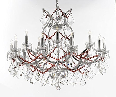 "Maria Theresa Chandelier Lighting Crystal Chandeliers H28 ""X W37"" Chrome Finish Dressed With Ruby Red Crystals Great For The Dining Room Living Room Family Room Entryway / Foyer - J10-B62/B81/Chrome/26050/15+1"