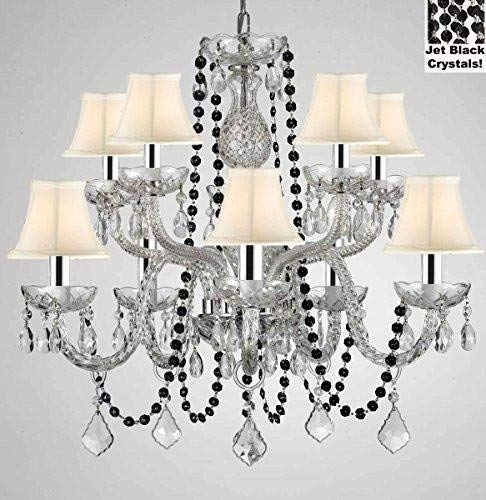 "Authentic All Crystal Chandelier Chandeliers Lighting with Jet Black Crystals and White Shades! Perfect for Living Room, Dining Room, Kitchen, Kid'S Bedroom W/Chrome Sleeves! H25"" W24"" - G46-B43/B80/CS/WHITESHADES/1122/5+5"