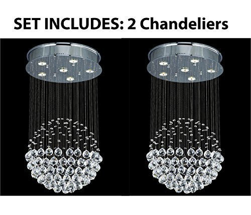 "Two Piece Lighting Set - Modern Contemporary Chandelier ""Rain Drop"" Chandeliers Lighting With Empress Crystal (Tm) Balls H32"" X W18"" - 2Ea A93-Silver/Md9342/6"