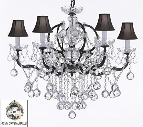 "Nineteenth C. Rococo Iron & Empress Crystal(Tm) Chandelier Lighting With Black Shades H 25"" X W 26"" - G83-Blackshades/B6/994/6"