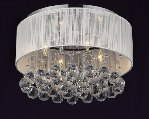 Flushmount 4-Light Chrome And White Shade Crystal Chandelier Lighting - G7-2130/4